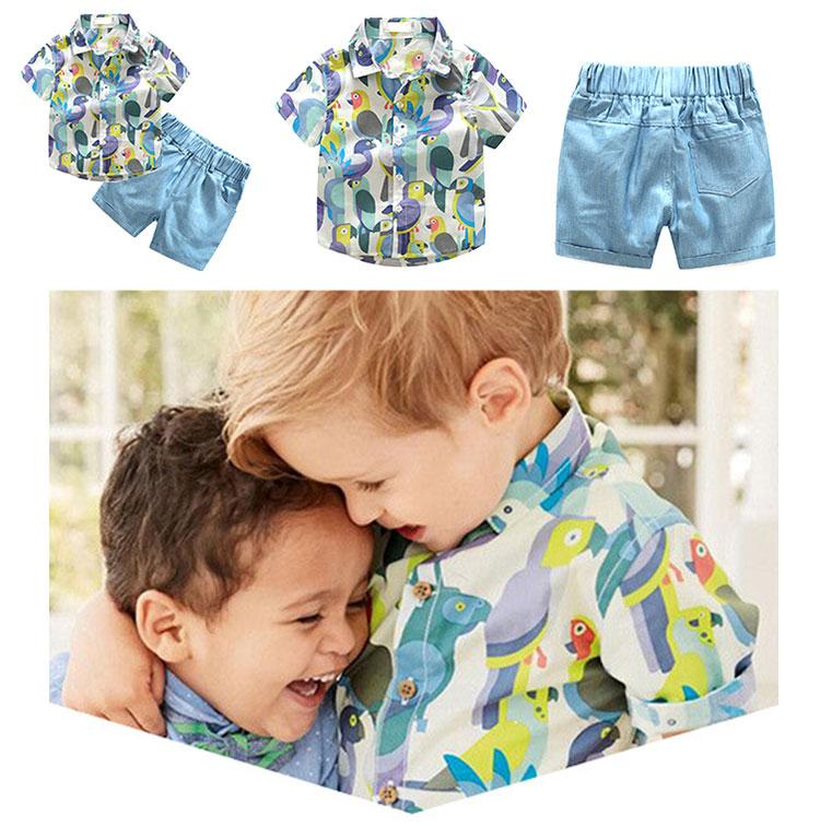 Boys Parrot Print Short Sleeve Shirt And Shorts Sets