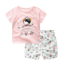 Cute Printed Summer Kids Clothes 100% Cotton Girls Shorts Sets