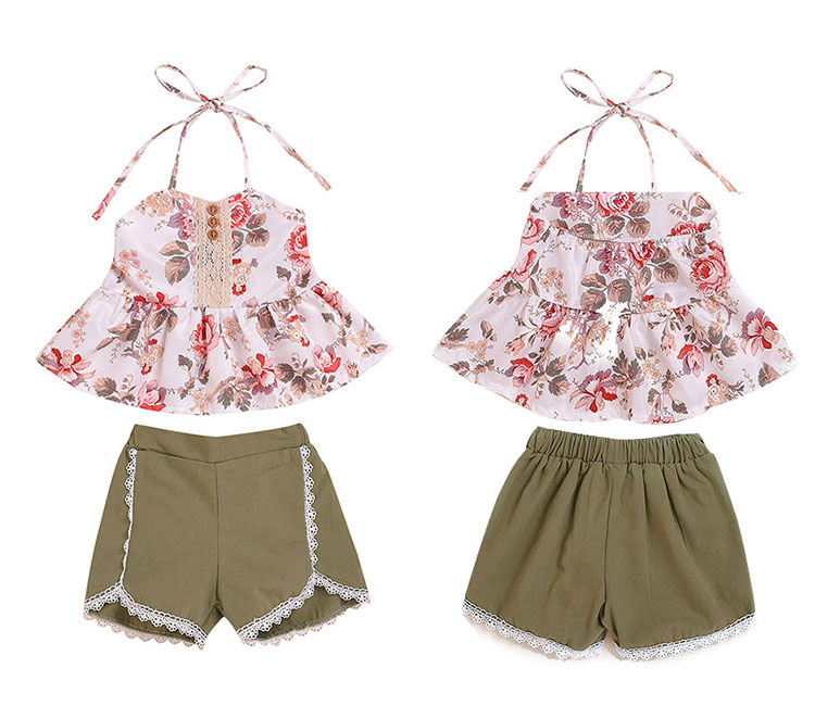 Girls Clothing Set Floral Printed Kids Summer Clothes