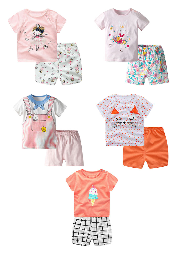 Summer Kids Clothes 100% Cotton Girls Shorts Sets