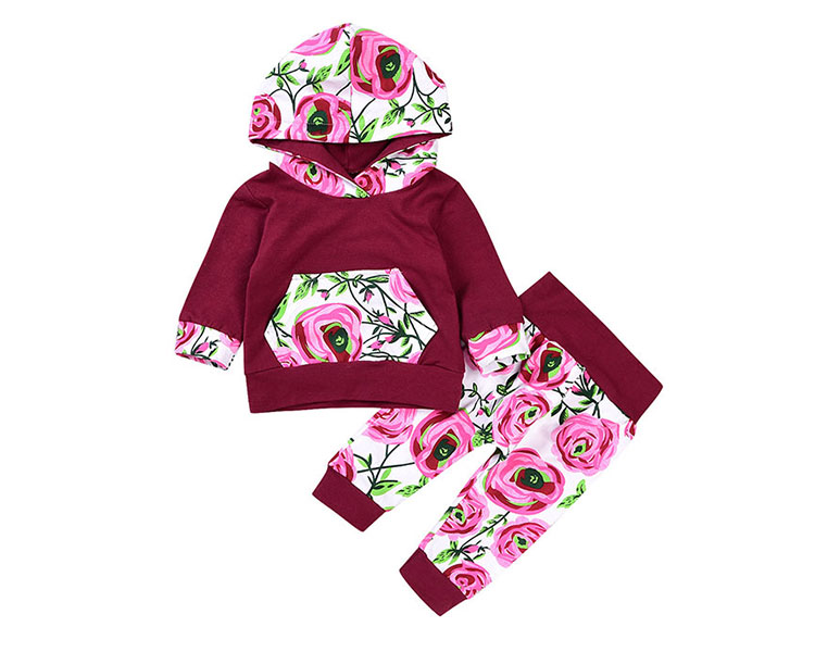 Boutique Kids Clothing Sets Little Girls Floral Printed Hoodie Sets