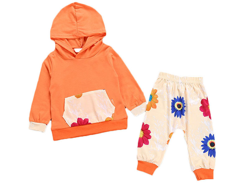 Floral Printed Kids Hoodies Sets Girls Clothes
