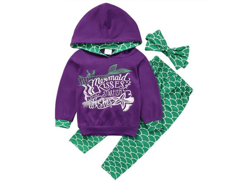 Fashion Kids Clothing Two Piece Girls Mermaid Sets