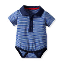 Cheap Baby Clothing 100% Cotton Polo Collar Stripe Bodysuit