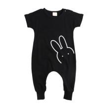 Summer fashion infant bodysuit black plain baby rompers