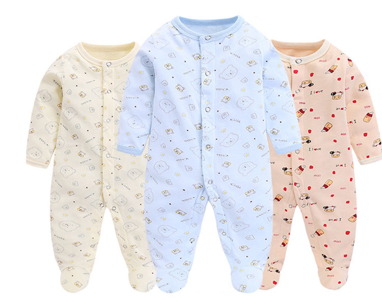 Printed Infant Clothing Casual Baby Winter Romper With Footed