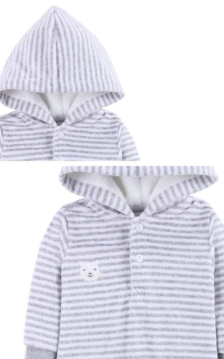Long Sleeve Hooded Baby Rompers For Winter