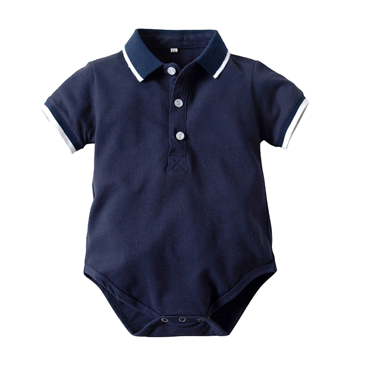 Baby Boys Pure Color Cotton Short Sleeve Polo Bodysuit 3-24 Months