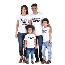 Summer Short Sleeve Moustache And Letter Printed Parent-Child T-Shirt