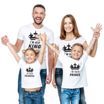 Summer Parent-Child Wear Crown And Words Printed  Short Sleeve T-Shirt