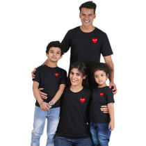 Heart-Shaped Printed Short-Sleeved T-Shirt Parent-Child Wear