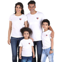 Parent-Child Wear Short Sleeve T-Shirt Heart-Shaped Printed Tops