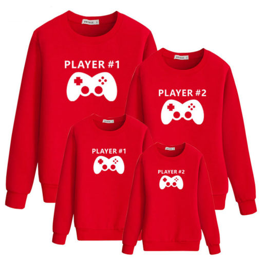 Game Handle Pattern Long Sleeve Sweatshirt Parent-Child Clothing