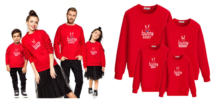 Parent-Child Wear Bunny Printed Family Matching Sweatshirt