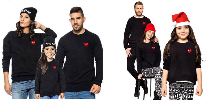 Heart-Shaped Printed Long Sleeve Sweatshirt Parent-Child Wear