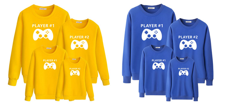 game handle pattern sweatshirt, parent-child clothing