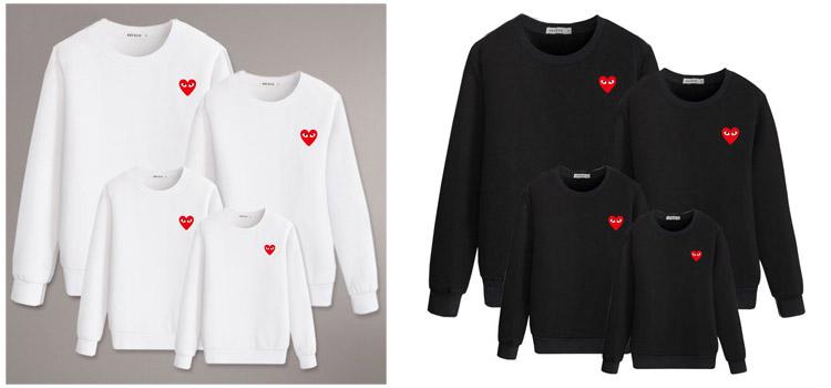 heart-shaped sweatshirt, parent-child clothing