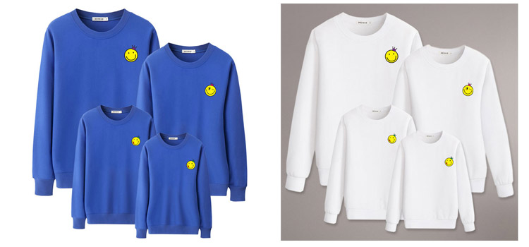 parent-child clothing, sweatshirt, winter printed sweatshirt