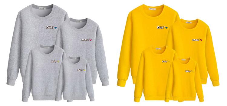 parent-child clothing, letter sweatshirt, winter sweatshirt
