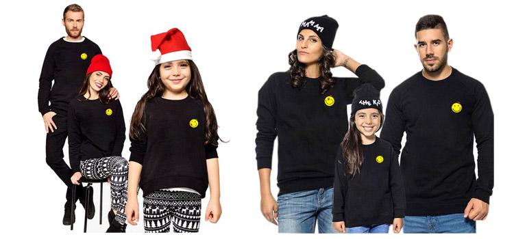 Winter Parent-Child Wear Smiley Printed Sweatshirt