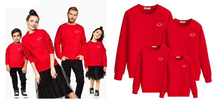 Planet Pattern Printed Sweatshirt Parent-Child Wear