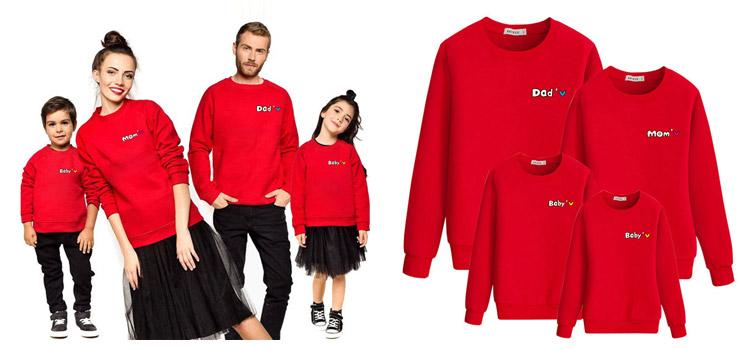 Winter Parent-Child Clothing Letter Printed Long Sleeve Sweatshirt