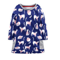 Long Sleeve Children Dress Printed Kids Girls Frock