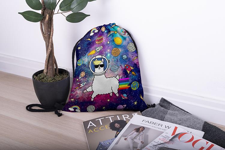 drawstring bag, drawstring backpack, shopping backpack