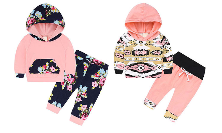 Hot Sale Baby Clothes Set Printed Toddler Girls Suit