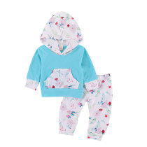 Floral Print Hooded Boutique Set Newborn Baby Girls Clothes