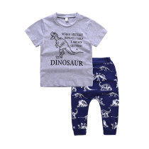 Pure Cotton Boys Clothing Set Dinosaur Pattern Kids Summer Clothes