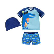 Kids Swimsuit With Cap Sunscreen Swimwear Sets For Boys