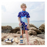 Summer New One-Piece Children Swimsuit Short Sleeve Boys Swimwear
