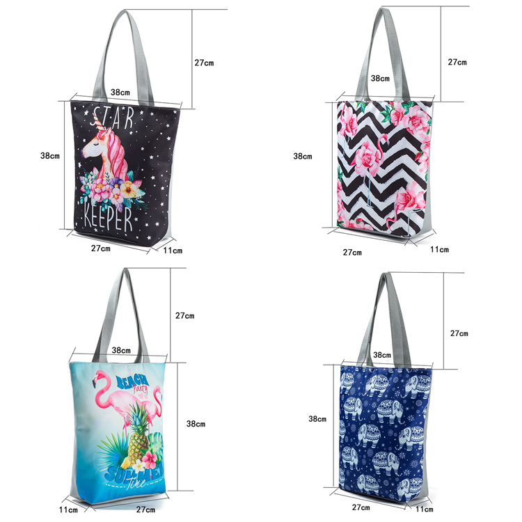 Hot Selling Women Canvas Beach Tote Bag Print Shoulder Handbags