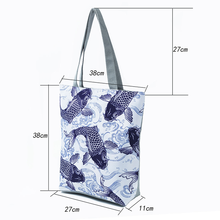 New Design Fish Printing Female Handbag Canvas Women Shoulder Bag