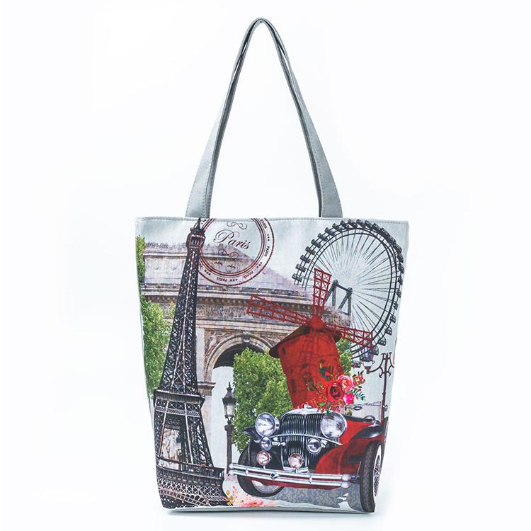 Popular Printed Canvas Shoulder Bag Stylish Handbags For Women