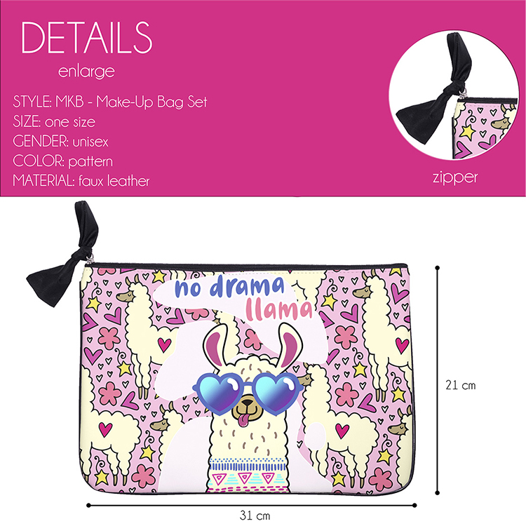 Polyester Cosmetic Bag Zipper Makeup Pouch Wash Bag For Women