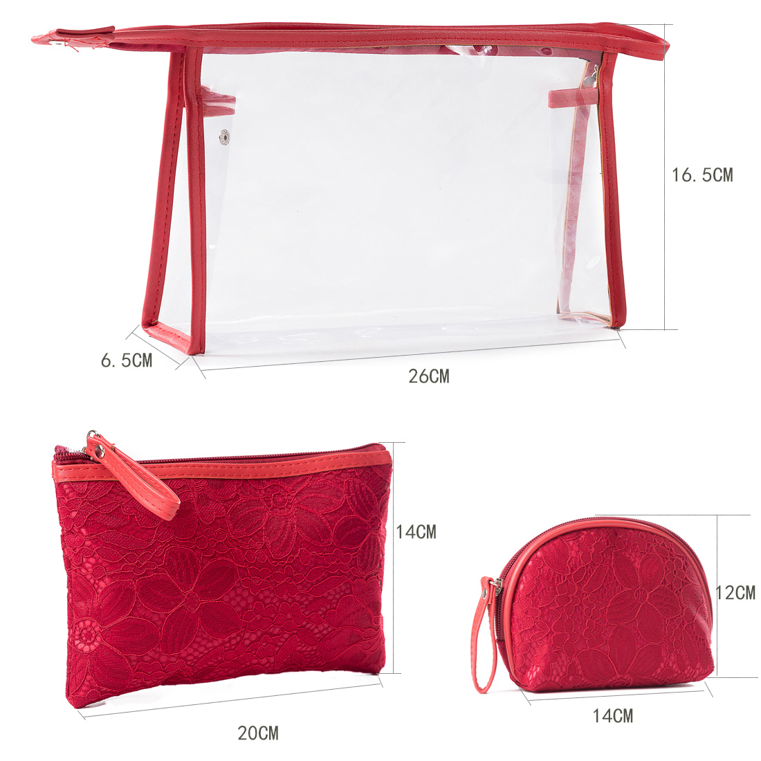 Embroidered Makeup Pouch Organizer Pvc Cosmetic Bag 3 Pcs Set