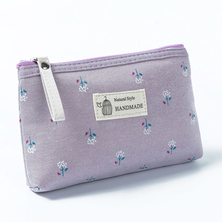 Floral Print Canvas Cosmetic Bag Organizer Portable Make Up Pouch