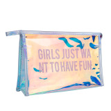 Letter Printed PVC Makeup Bag Portable Clear Cosmetic Pouch