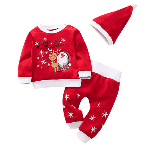 Cute Santa Printing Christmas Newborn Baby Girls Boys Clothing Set