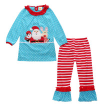Santa Claus Embroidered Design Christmas Long Sleeve Children Girls Clothing Set