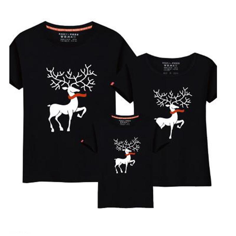 Christmas Family Matching Clothing Cartoon Moose Print Parent-Child T-Shirt