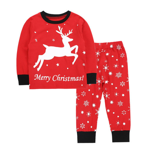 Baby Boys Girls Cartoon Deer Christmas Family Clothing Outfits Set