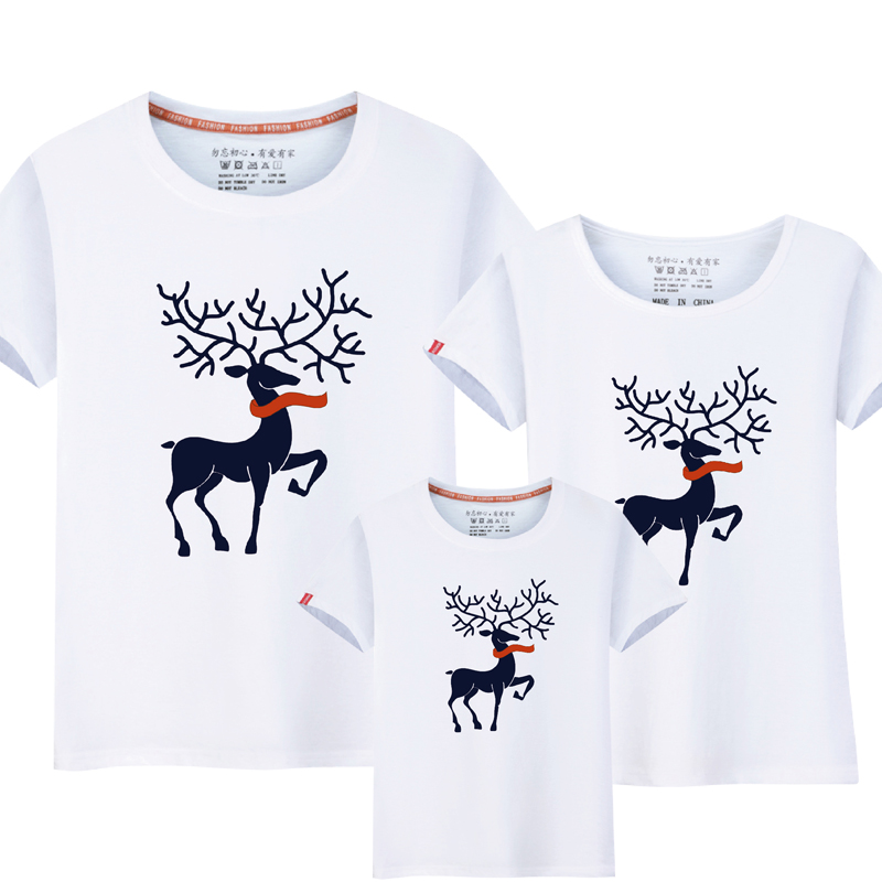 parent-child t-shirt, family wear, parent-child clothing, Christmas costume