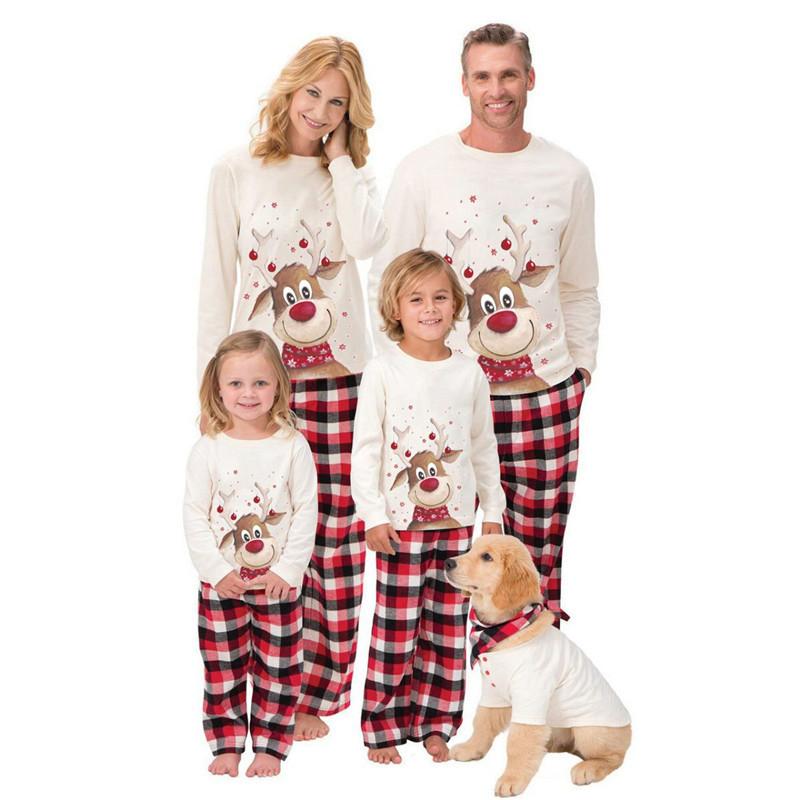 Fleece Christmas Parent-Child Wear Elk Print Long-Sleeved Pajamas Home Wear Suit