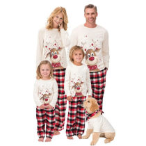 Fleece Christmas Parent-Child Wear Elk Print Long-Sleeved Pajamas Home Wear Suit