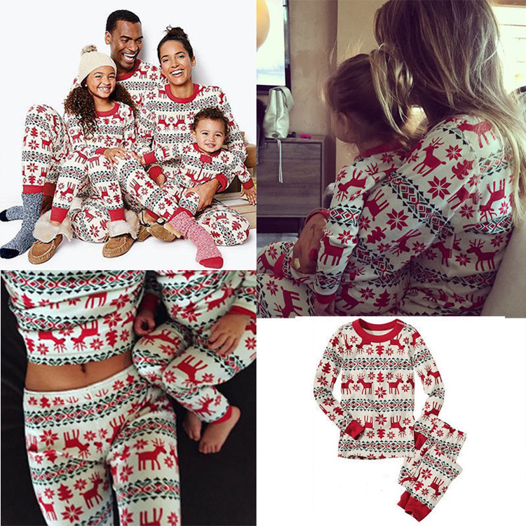 New Cotton Printed Christmas Parent-Child Suit Home Pajamas 2 Sets