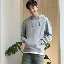 Hooded Sweatshirt Loose Fake Two-Piece Solid Color Couple Wear