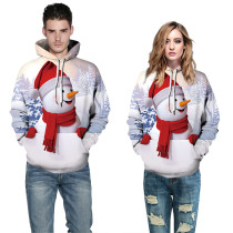 Snowman Christmas Style Digital Print Couples Hooded Sweatshirt